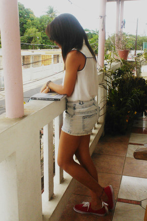 white Forever 21 blouse - off white high waisted delias shorts