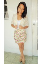 hot pink floral print Forever 21 skirt - cream lace Forever 21 blazer