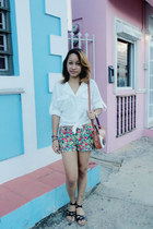 floral Forever 21 shorts - white Wholesale Dress blouse