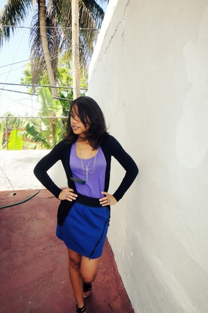 purple Forever 21 top - navy papaya skirt - black Forever 21 cardigan - blue mad