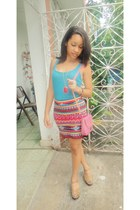 bubble gum Yes Style purse - hot pink Forever 21 skirt - neutral Mia heels - tur