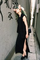 black long slit dress dress - black sleeveless H&M Trend blazer