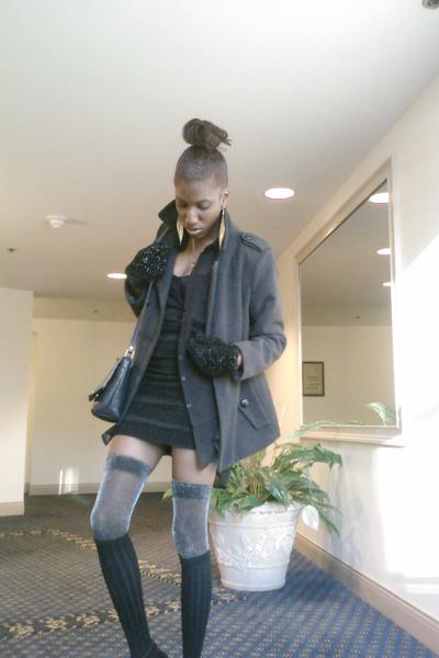 70458d72a black thigh high socks - black H M dress - gray wool jacket - black sheer  shirt