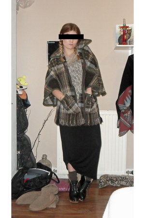 Ebay boots - Topshop vest - Topshop top - new look skirt - vintage cape