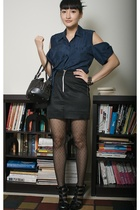 blue reconstructed wang-ish blouse - black shoes - black fencenet tights