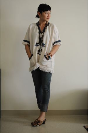 white vintage top - brown gift shop necklace - blue Miss Sixty jeans - brown Miu