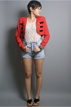 neneee jacket - vintage shorts - intimate - sam edelman shoes