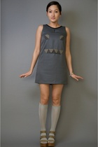 beige platforms Pierre Hardy for Gap shoes - gray geometric robot neneee dress