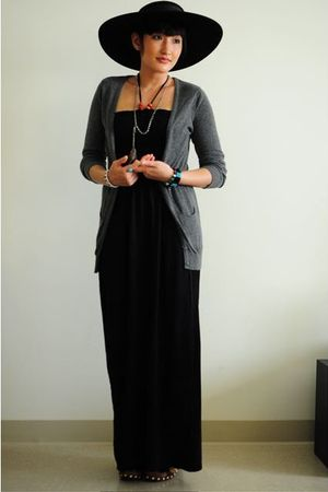 black vintage hat - gray Forever 21 cardigan - black Ross dress - silver handmad