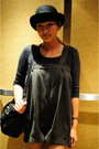 Black-ebay-hat-gray-thrifted-top-brown-neneee-shorts-silver-socks-black-