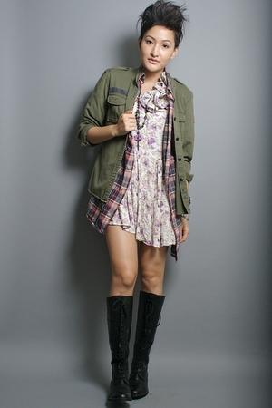 Ralph Lauren Lauren jacket - Tommy Hilfiger shirt - neneee dress - Report boots