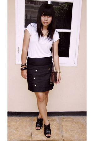 white Forever 21 top - black Hardware skirt - black Charles & Keith shoes