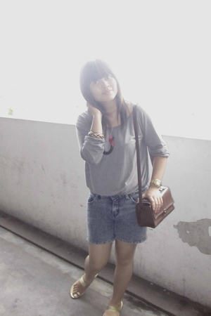 gray Magnolia blouse - silver local brand shorts - brown from Jogja accessories