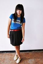 blue Dept Store t-shirt - black Forever 21 skirt - white bought online shoes