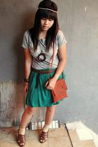 silver Forever 21 top - green NyLa skirt - brown Guess shoes