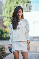 ivory VS pink sweater - sheer layered Line & Dot skirt