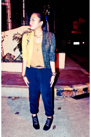 B Club shoes - tawny sleeveless Zara top - black Zara pants - thrifted cardigan