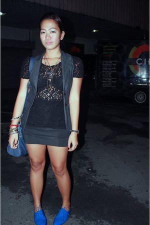 black Forever 21 top - black Pill skirt - gray sm dept store blazer - blue Carme