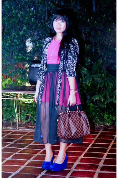 black sheer ukayista skirt - hot pink Zara dress