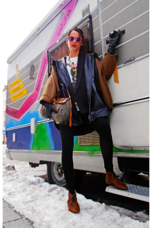 black oversize Mango blazer - Bimba&amp;Lola shoes - Bimba&amp;Lola coat