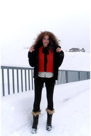 red red wool H&M top - black Sorel boots - black Adolfo Dominguez jacket