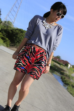 red balenciaga skirt - black H&M shoes - heather gray TNA sweater