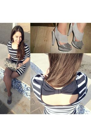 blue BLANCO dress - silver Mango shoes - silver my towns store bag