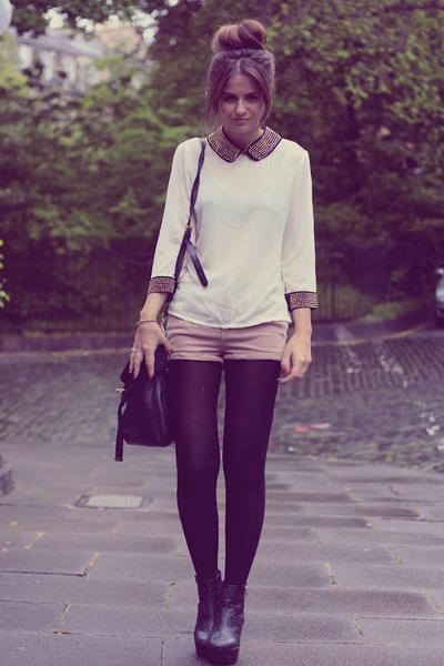 light pink Topshop shorts - black leather H&M boots - white studded Dahlia shirt