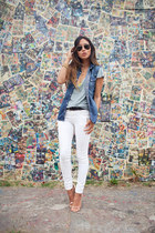 denim True Religion vest - white Zara jeans - shirt - Zara sandals