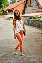 light orange coral H&M jeans - eggshell nastygal shirt - vintage bag