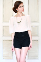 high-waist asos shorts - LOLA necklace - American Apparel top
