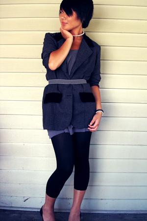dress - blazer - belt - shoes