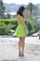 lime green H&M dress - lime green Zara bag - light pink Miu Miu heels