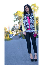 yellow Zara blazer - black J Crew pants - hot pink J Crew top