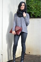 black Giuseppe Zanotti boots - heather gray madewell sweater