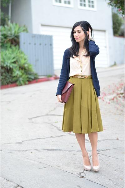 peach madewell top - maroon Cartier bag - dark khaki madewell skirt