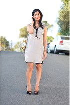 off white H&M dress - camel Diane Von Furstenberg bag - black Miu Miu heels