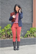 brick red rag & bone jeans - black Giuseppe Zanotti boots - navy Zara blazer