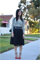 black vintage skirt - black Chanel bag - black StyleMint top - red Zara heels