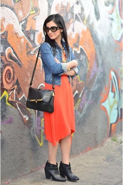 blue Forever 21 jacket - black rag & bone boots - red StyleMint dress