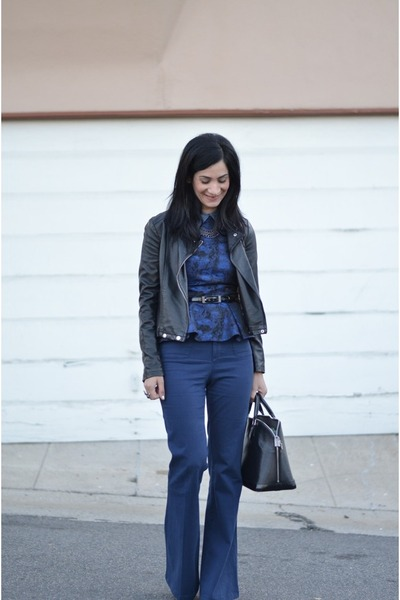 blue Alice & Olivia pants - black Forever 21 jacket - black Louis Vuitton bag