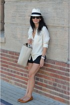 white JCrew hat - black JCrew shorts - white Elizabeth & James blouse