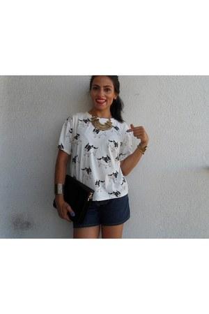 white Choies blouse - black Rosegal bag - navy romwe shorts