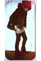 Zara boots - Bershka jeans - volcom accessories - neva-products jacket