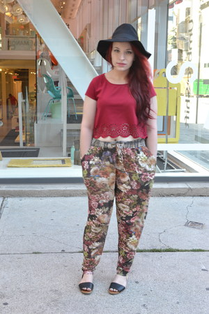black Forever 21 hat - brick red Urban Outfitters shirt - crimson Mango pants
