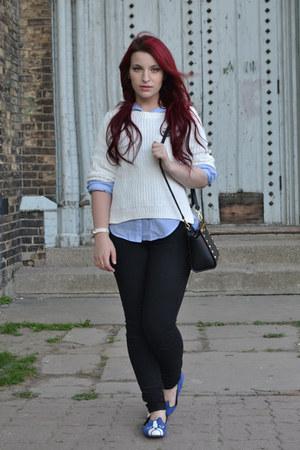 black Michael Kors purse - black garage jeans - white H&M sweater