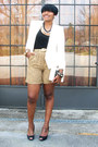 Tan-leopard-jones-new-york-shorts-white-thrifted-vintage-blazer-black-shirt