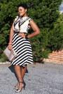 Black-stripes-skirt-white-tribal-blouse