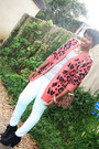 Coral-leopard-print-forever-21-cardigan-light-blue-mint-h-m-jeans