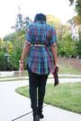 Plaid-thrifted-vintage-shirt-metallic-thrifted-vintage-belt